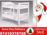 **BRAND NEW WHITE WOODEN BUNK SINGLE SMALL DOUBLE BED**