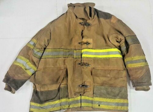 48x35 Globe Firefighter Brown Turnout Bunker Jacket Coat with Yellow Tape J797