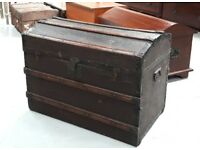 Dome Top Captain's Trunk Blanket Box Chest Or Storage