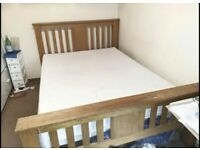 Solid oak double bed frame with mattress great condition