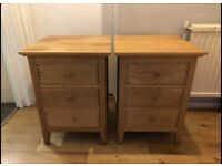 Solid oak bedside cabinets great condition