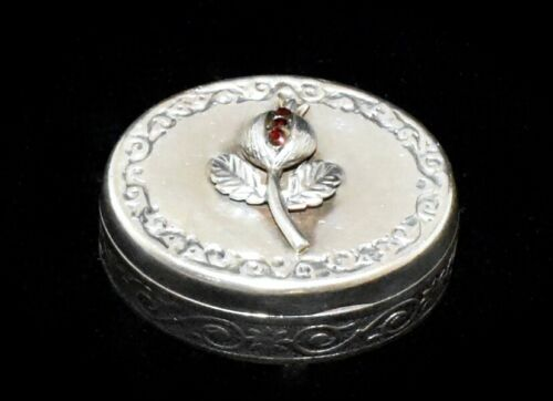 BEAUTIFUL Antique FRENCH **930 STERLING SILVER & GARNETS** Pill/Trinket BOX