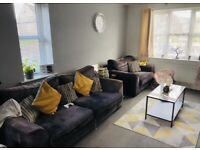 SCS Grey sofa and cuddle chair
