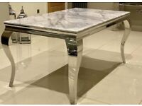 Louis grey marble dining table