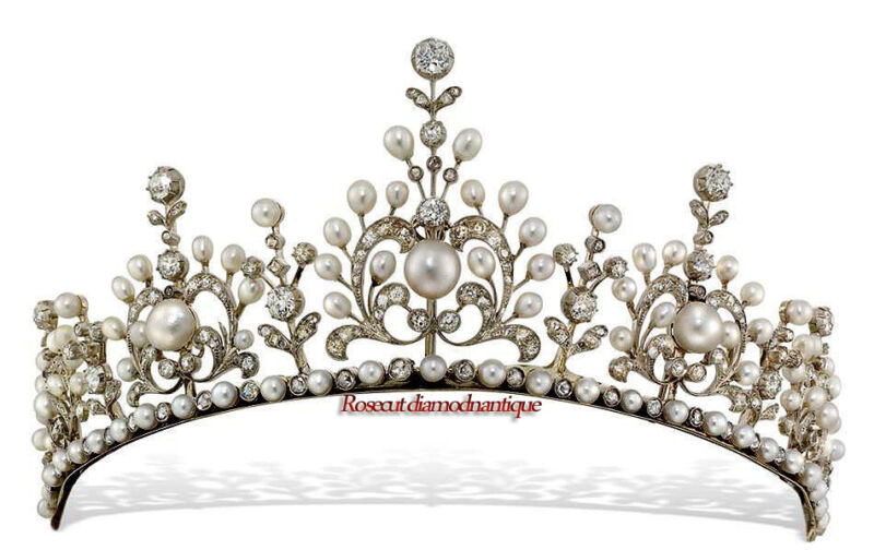 VICTORIAN 13.06ct UNCUT ROSE CUT DIAMOND SILVER 925 PEARL PARTY LOOK TIARA CROWN