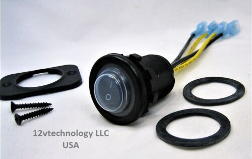 Sealed DPST Momentary Waterproof Rocker Round 12V Switch Panel Mount Marine IP66
