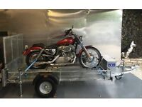NEW 8x4 GALVANISED MOTORCYCLE MOVING TRAILERS. LED LIGHTS RAMP DOOR SUIT LARGER BIKES LIKE HARLEYS