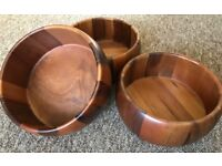 """Wood Fruit/Salad Serving Bowl, 9.5"""" Dia, 4.5"""" High, £10 each or the 3 for £25"""