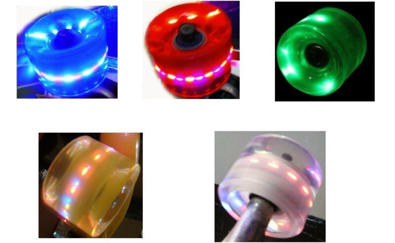 LED Lights 70mm Skateboard Longboard Wheels + Abec 9 Bearings