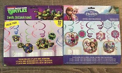 Decorations Of Frozen (2 Pack Of Swirl Decorations: Disney's Frozen & Teenage Mutant Ninja)
