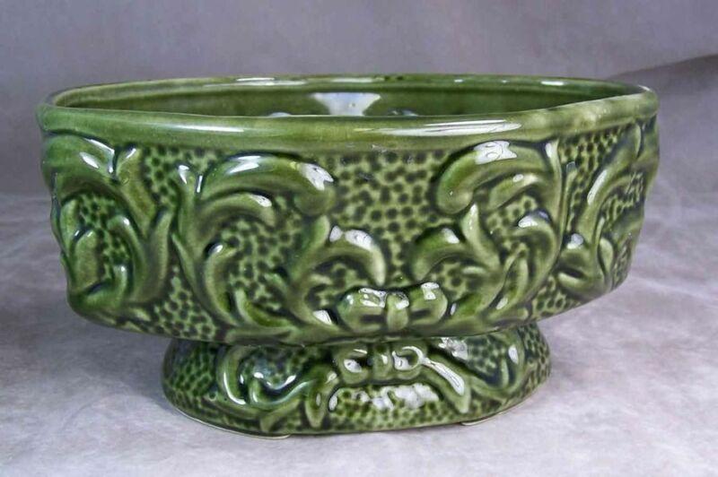 Vintage American Bisque Utilitarian Pedastal Planter Dark Green Floral