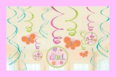 Girl Baby Shower Theme (12 Piece It's a Girl Baby Shower Decorations - Butterfly Theme Swirls)