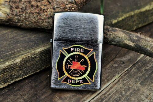 Zippo Lighter - Fire Department Maltese Cross Shield - Firefighter - Hook Ladder