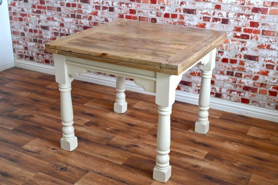 Hardwood Extendable Rustic Dining Table Country Farmhouse Style E Saving Design