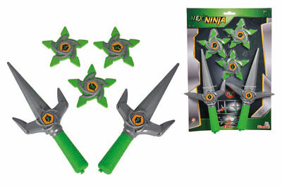 Simba Next Ninja 2 Messer mit 3 Wurfstern Fasching Spielzeug Sai Gabeln Karneval