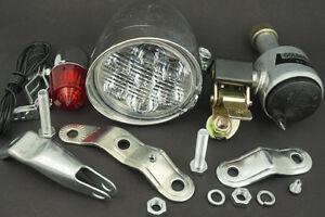Bicycle Motorized Bike Friction Generator Dynamo Headlight Tail Light Lamp Kit