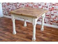 Hardwood Extendable Rustic Dining Table Country Farmhouse Style - Space Saving Design