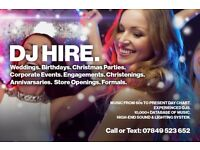 DJ Hire (Wedding, Birthday, Christmas Party, Corporate Event, Formal, Store Opening)