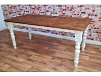 Rustic Reclaimed Pine Vintage Farmhouse Wood Kitchen Dining Table - Range of Sizes