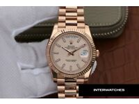 Rolex Day Date Rose White Baton Dial Rose Gold