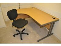 Computer large surface desk - solid wood + steel frame- AND chair. Local delivery at cost