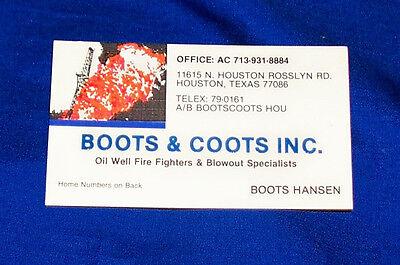Boots & Coots Business Card Red Adair Oil Well Field Firefighting Patch Sticker