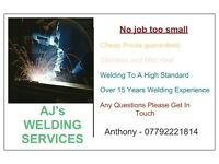 AJ's Welding Services, welder, mobile welding
