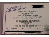 4x Moose Blood Standing Tickets Birmingham 8/03/18