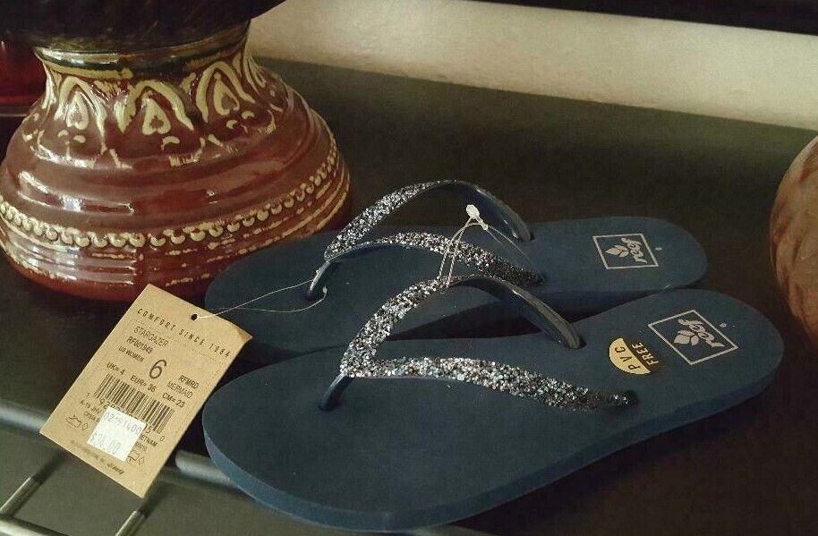 "REEF Navy Jeweled ""Stargazer"" Sandals / Flip Flops NWT SZ 6"