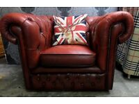 Fantastic Chesterfield Low Back Club Chair in Oxblood Red Leather - Uk Delivery
