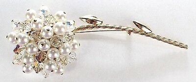 Brooch Pin - Flower - Long Stem - AB Acrylic Beads - Faux Pearls - Gold Tone