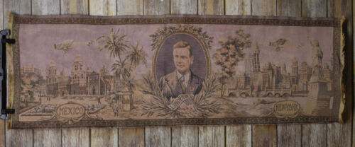 Vintage Charles Lindbergh Spirit of St Louis New York to Mexico Tapestry