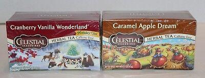 Cranberry Caramel - NEW Sealed 2 Boxes Celestial Seasonings Tea Cranberry Vanilla & Caramel Apple