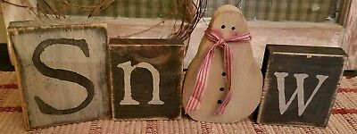 Primitive Country Farmhouse Snow Letters with Snowman - Country Snowman