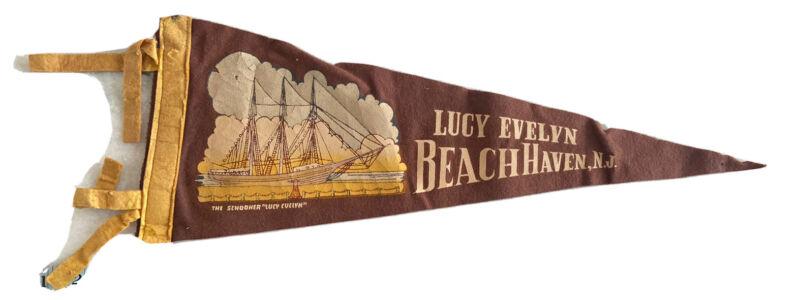 RARE Vintage BEACH HAVEN NJ Felt Flag Pennant Collectors