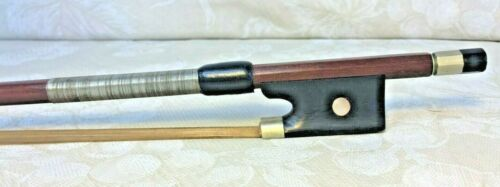Vintage Violin Bow Unmarked Round Wood Shaft w/ Winding Nicely Made