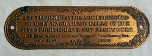 1862 NEWPORT GOLF CLUB GENTLEMEN PLAQUE ORIGINAL RULES SPORT GOLFING ANTIQUE OLD