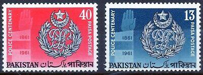 Pakistan 1961 QEII Police Centenary set of 2 mint stamps  LMM