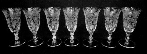7 Vintage Cambridge Glass Wildflower Juice Glasses Stem #3121 Beautiful Elegant!
