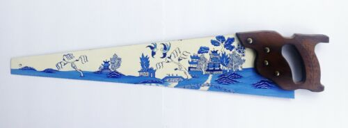"""Vintage One of a Kind 29"""" Hand Painted Hand Saw Blue Willow Country Primitive"""