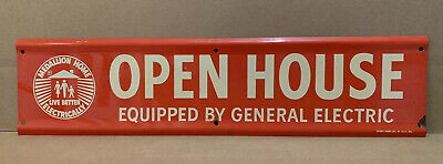 Vintage Open House General Electric Sign Metal Real Estate Agent Home Wall Decor