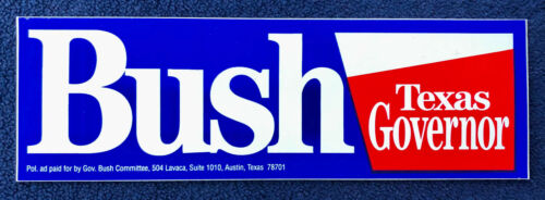 1998 George W. Bush Texas Governor Re-Election Campaign Bumper Sticker