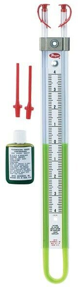 "Dwyer 1222-16-w/M U-Tube Manometer (8-0-8""w.c.) using water or mercury"