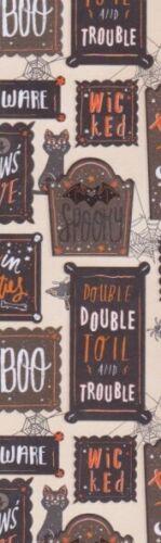 Happy Hallloween (each different) decorative paper,  laminated bookmark