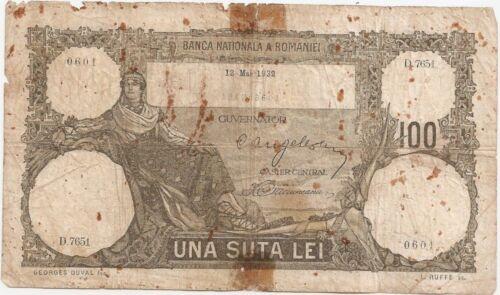 ROMANIA 100 LEI 1932 USED