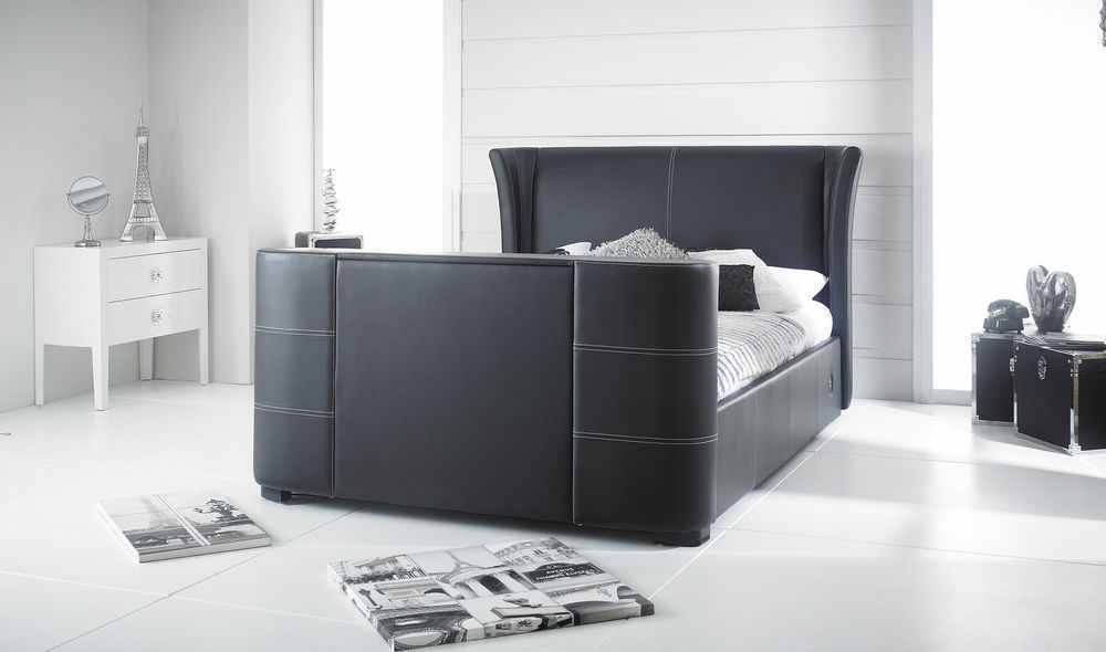 black king size valencia tv bed frame  holds tv up to
