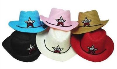 Cowgirl Hats For Kids (6 CHILDRENS COWBOY / COWGIRL COLORED HATS W USA STAR wholesale kids western)