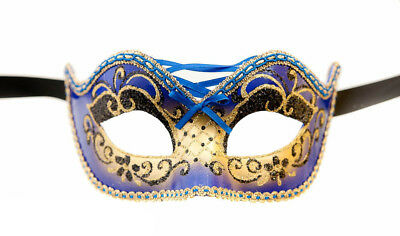 Mask Venice Colombine Burlesque Blue & Gold for Prom Mask 954 V4b