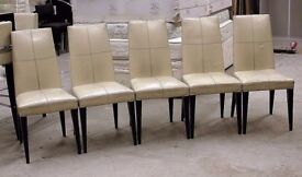Cool retro white/cream leather and wood high backed chair. 7 left