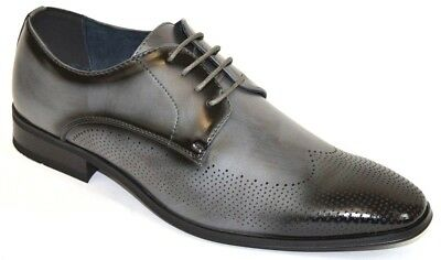 Perforated Wing Tip - Men's Dress Shoes Perforated Wing Tip Gray Color Lace Up WALTER-011